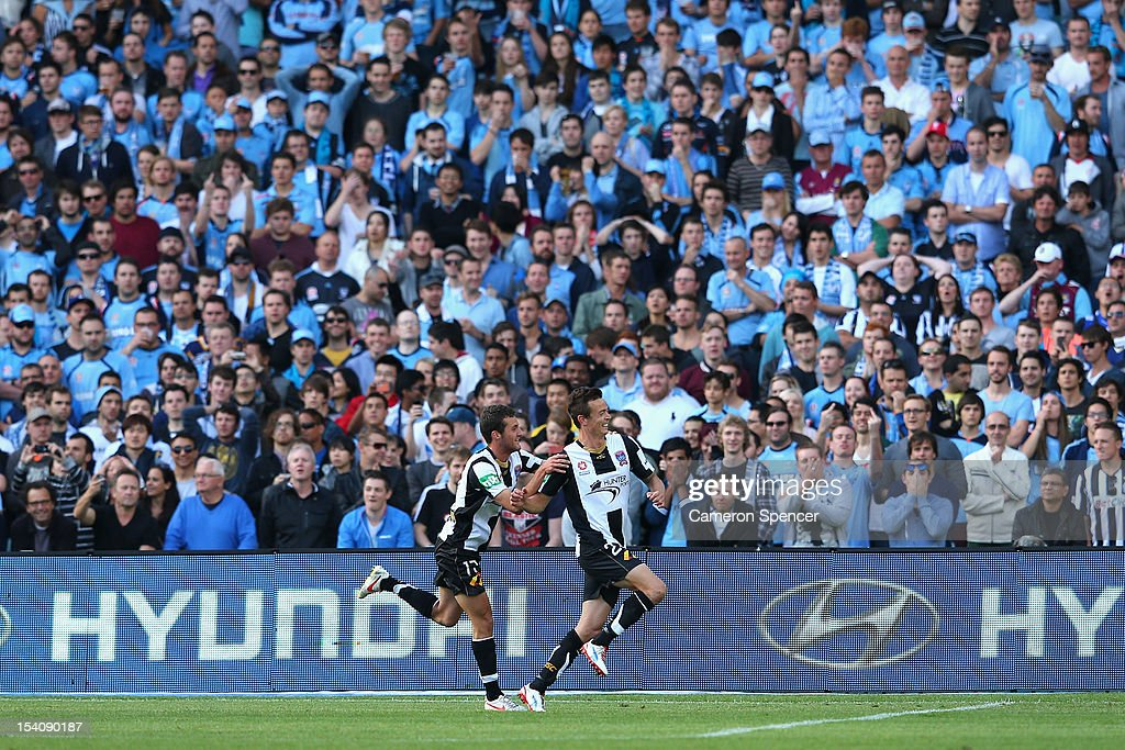 Ryan Griffiths of Newcastle celebrates scoring a goal during the round two ALeague match between Sydney FC and the Newcastle Jets at Allianz Stadium...