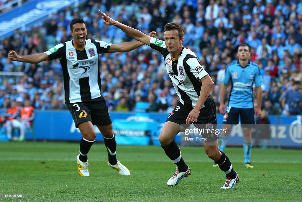 Ryan Griffiths of the Jets celebrates after scoring his team's first goal during the round two ALeague match between Sydney FC and the Newcastle Jets...
