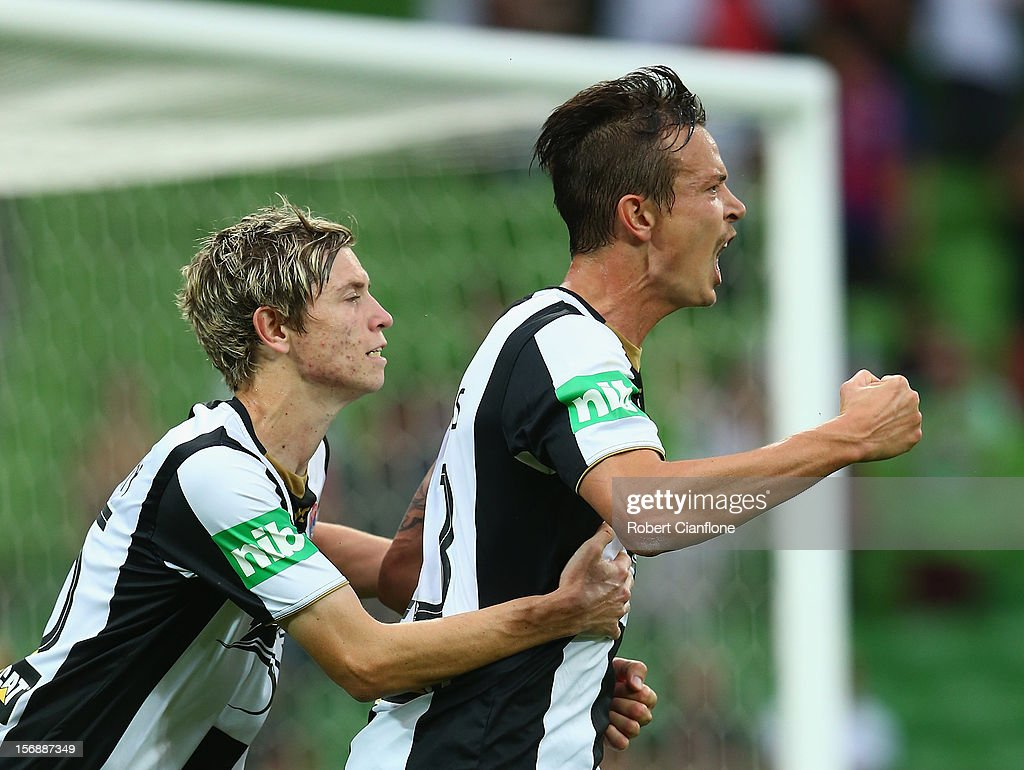 Ryan Griffiths of the Jets celebrates his goal with team mate Craig Goodwin during the round eight ALeague match between the Melbourne Heart and the...