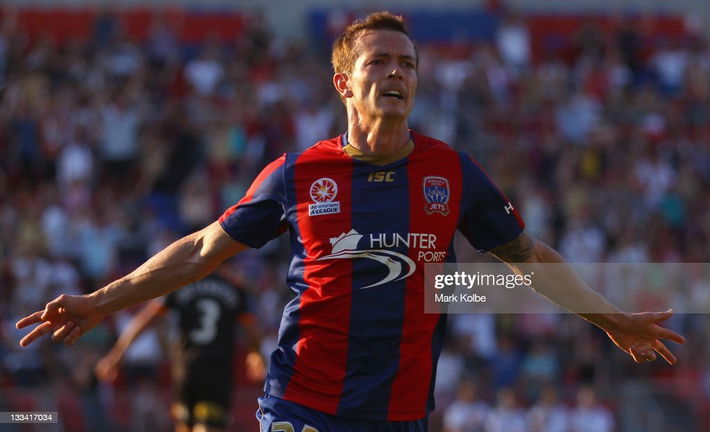 Ryan Griffiths of the Jets celebrates scoring a goal during the round seven ALeague match between the Newcastle Jets and the Brisbane Roar at Ausgrid...