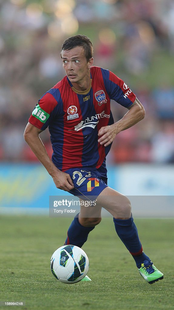 Ryan Griffiths of the Jets in action during the round 15 A-League match between the Newcastle Jets and Adelaide United at Hunter Stadium on January 5, 2013 in Newcastle, Australia.