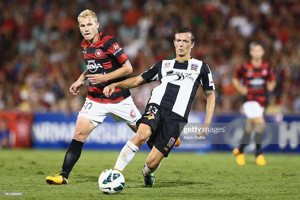 Ryan Griffiths of the Jets passes during the round 20 A-League match between the Western Sydney Wanderers and the Newcastle Jets at Campbelltown Sports Stadium on February 9, 2013 in Sydney, Australia.