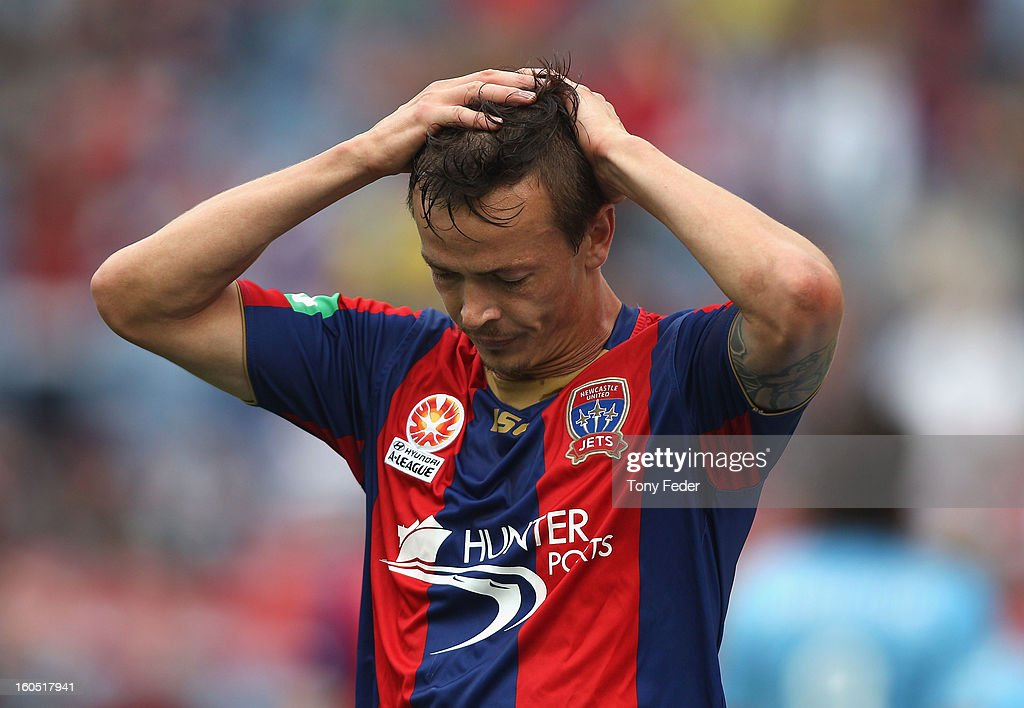 Ryan Griffiths of the Jets reacts after missing a goal during the round 19 ALeague match between the Newcastle Jets and Sydney FC at Hunter Stadium...