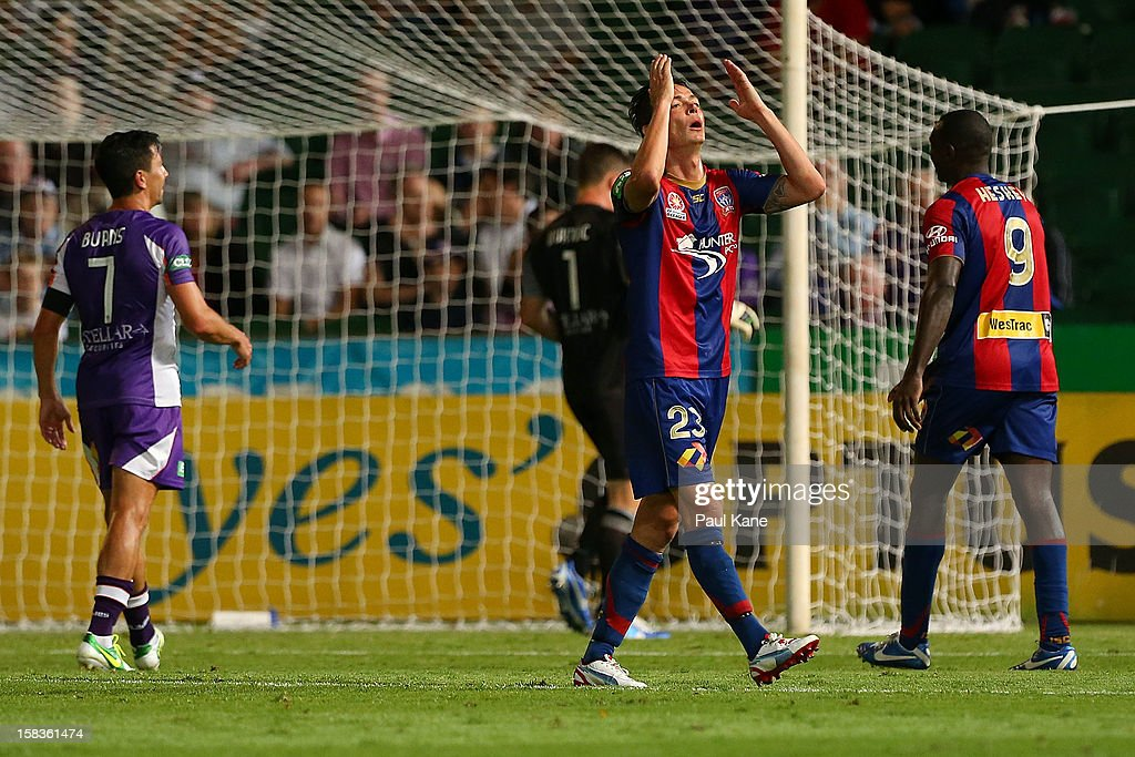 Ryan Griffiths of the Jets reacts to missing a shot on goal during the round 11 ALeague match between the Perth Glory and the Newcastle Jets at nib...