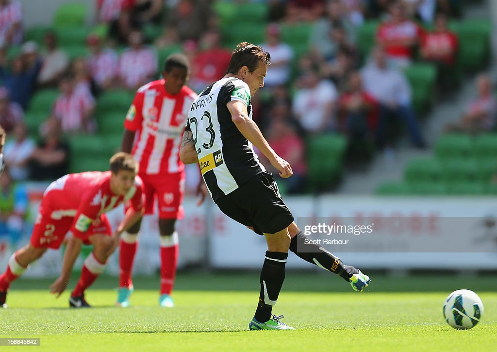 Ryan Griffiths of the Jets scores a goal from the penalty spot during the round 14 ALeague match between Melbourne Heart and the Newcastle Jets at...