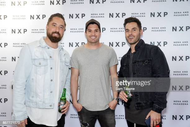 Ryan Griggs Leigh Montagna and Paul Edwards arrives for the Nena Pasadena store launch on October 5 2017 in Melbourne Australia