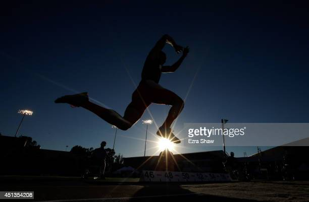 Ryan Grinnell competes in the men's triple jump during day 3 of the USATF Outdoor Championships at Hornet Stadium on June 27 2014 in Sacramento...