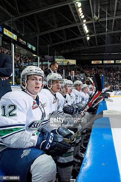 Ryan Gropp of Seattle Thunderbirds sits on the bench with teammates against the Kelowna Rockets on March 18 2015 at Prospera Place in Kelowna British...