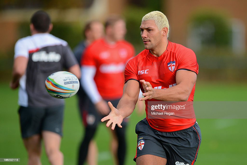 Ryan Hall in action during the England training session for the Rugby League World Cup on October 29, 2013 in Loughborough, England.