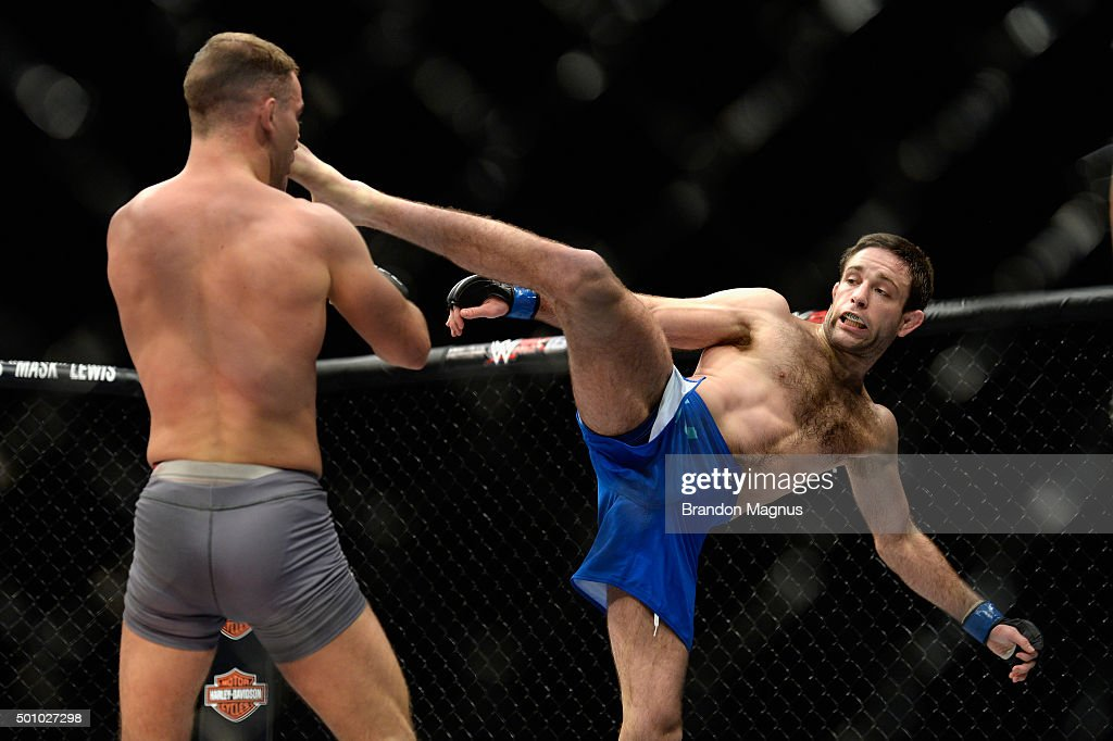 Ryan Hall kicks Artem Lobov in their lightweight finals bout during the TUF Finale event inside The Chelsea at The Cosmopolitan of Las Vegas on December 11, 2015 in Las Vegas, Nevada.
