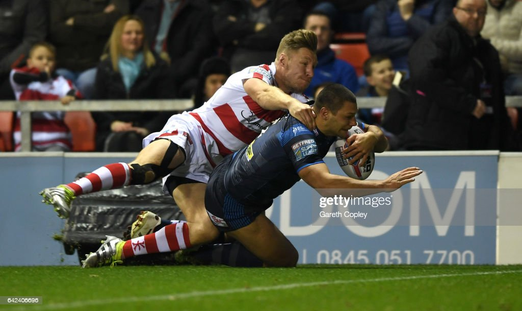 Ryan Hall of Leeds scores his team's second try during the Betfred Super League match between Leigh Centurions and Leeds Rhinos at Leigh Sports Village on February 17, 2017 in Leigh, Greater Manchester.