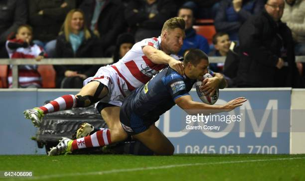 Ryan Hall of Leeds scores his team's second try during the Betfred Super League match between Leigh Centurions and Leeds Rhinos at Leigh Sports...
