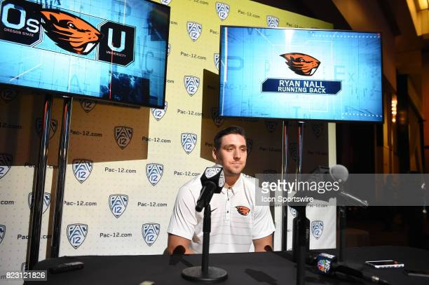 Ryan Hall running back of Oregon State addresses the media during the Pac12 Football Media Day on July 26 2017 at Hollywood Highland in Los Angeles CA