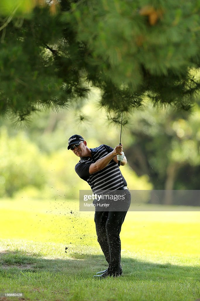 Ryan Haller of Australia plays a shot during day three of the New Zealand Open Championship at Clearwater Golf Course on November 24, 2012 in Christchurch, New Zealand.