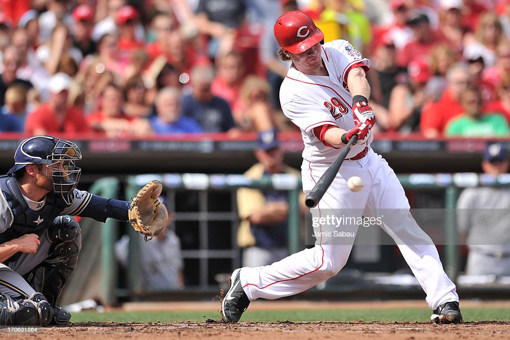 Ryan Hanigan #29 of the Cincinnati Reds bats against the Milwaukee Brewers in the second inning at Great American Ball Park on June 15, 2013 in Cincinnati, Ohio. Milwaukee blanked Cincinnati 6-0.