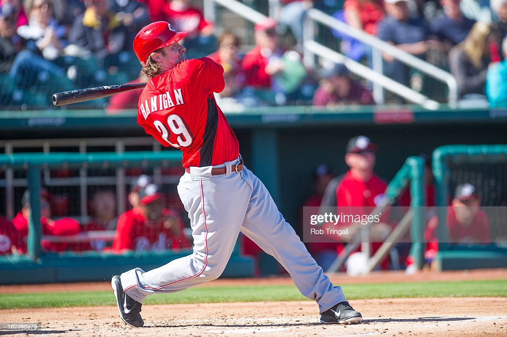 <a gi-track='captionPersonalityLinkClicked' href=/galleries/search?phrase=Ryan+Hanigan&family=editorial&specificpeople=833982 ng-click='$event.stopPropagation()'>Ryan Hanigan</a> #29 of the Cincinnati Reds doubles in a run in the first inning during a spring training game against the Cincinnati Reds at Goodyear Ballpark on February 22, 2013 in Goodyear, Arizona.