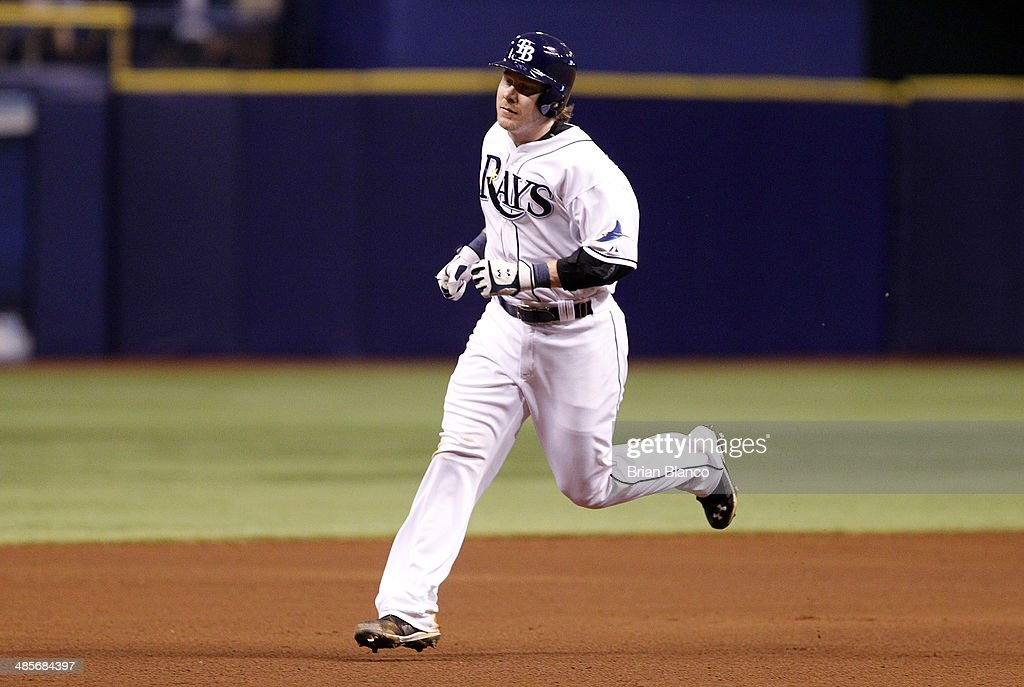 <a gi-track='captionPersonalityLinkClicked' href=/galleries/search?phrase=Ryan+Hanigan&family=editorial&specificpeople=833982 ng-click='$event.stopPropagation()'>Ryan Hanigan</a> #24 of the Tampa Bay Rays rounds the bases after hitting a two-run home run off pitcher Ivan Nova of the New York Yankees during the fourth inning of a game on April 19, 2014 at Tropicana Field in St. Petersburg, Florida.