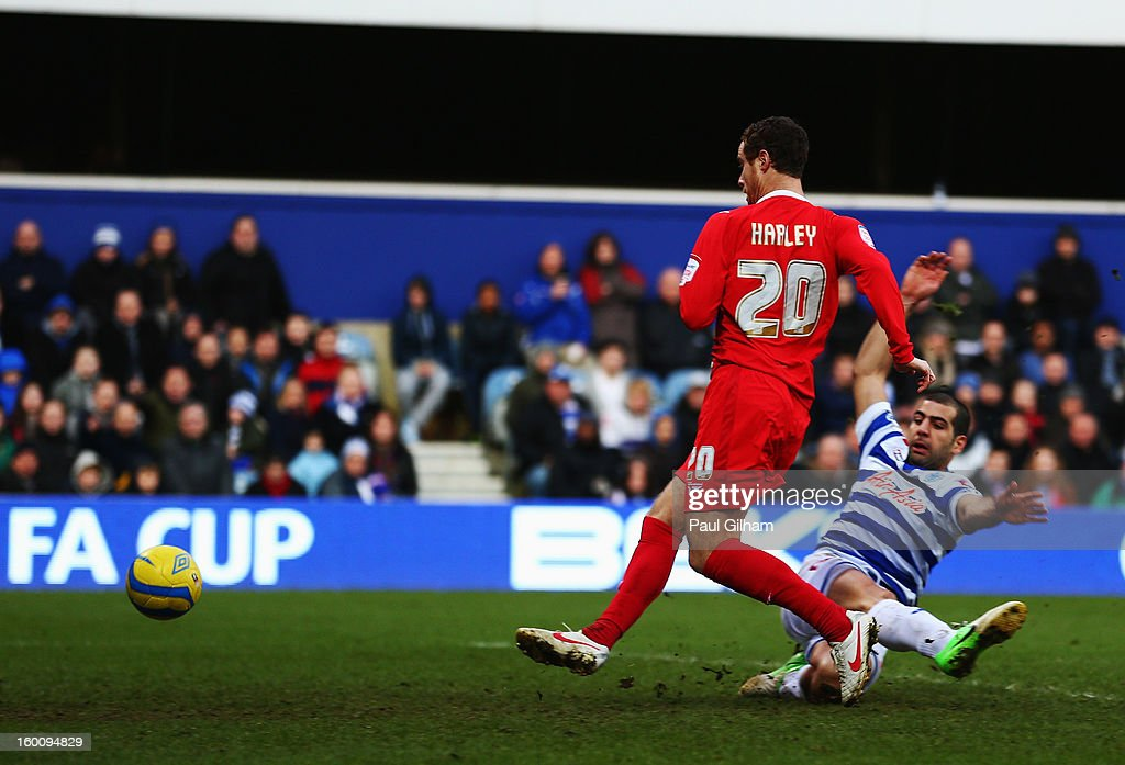 Ryan Harley (L) of Milton Keynes Dons skips the challenge of Tal Ben Haim (R) of Queens Park Rangers and scores his sides third goal during the FA Cup with Budweiser Fourth Round match between Queens Park Rangers and Milton Keynes Dons at Loftus Road on January 26, 2013 in London, England.