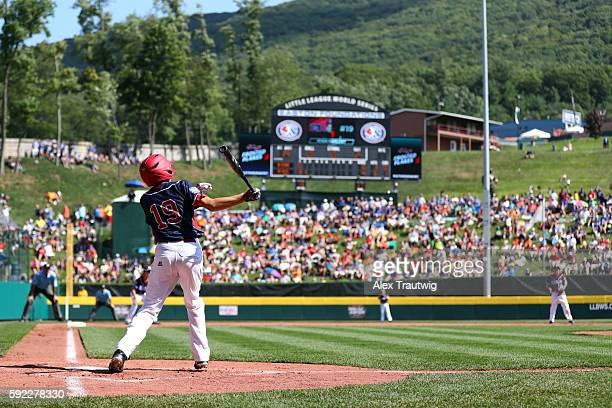 Ryan Harlost of the MidAtlantic team from MaineIndwell Little League bats against the New England team during Game 2 at Lamade Stadium during the...