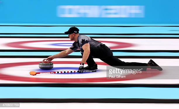 Ryan Harnden of Canada in action during the Men's Gold Medal match between Canada and Great Britain on day 14 of the Sochi 2014 Winter Olympics at...