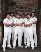 Ryan Harris Mitchell Starc Peter Siddle James Pattinson James Faulkner and Jackson Bird of Australia pose during an Australian Fast Bowlers Portrait...