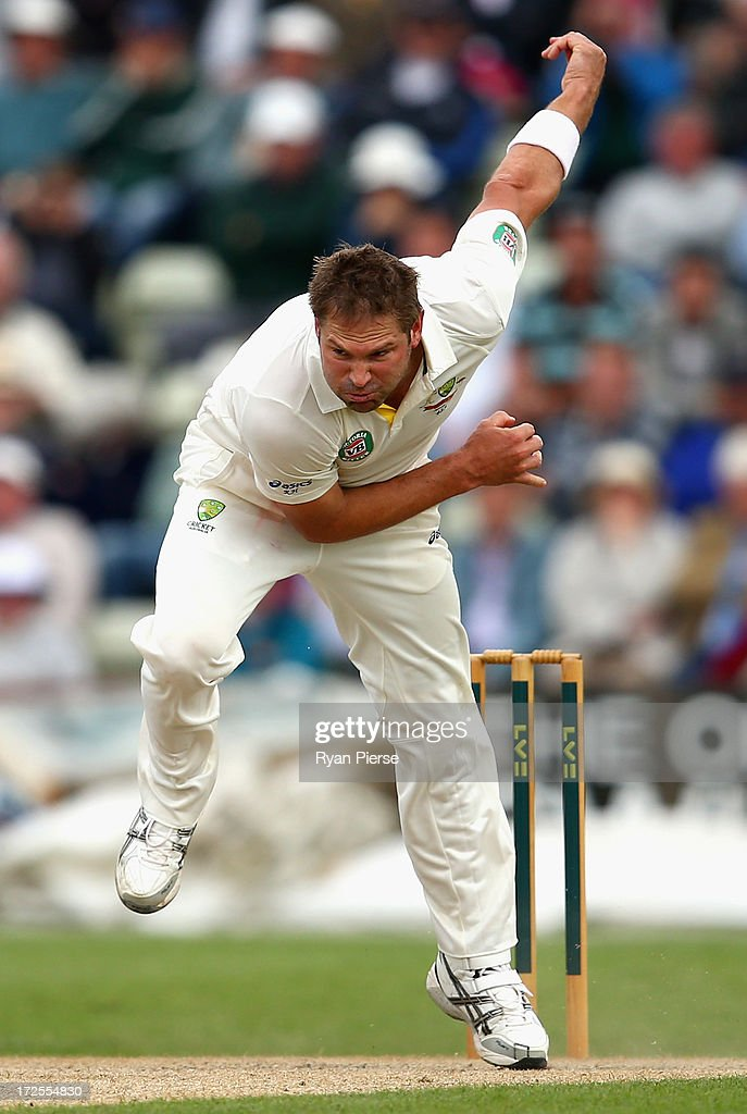 Ryan Harris of Australia bowls during day two of the Tour Match between Worcestershire and Australia at New Road at New Road on July 3, 2013 in Worcester, England.