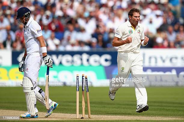 Ryan Harris of Australia celebrates after bowling Joe Root of England during day three of 4th Investec Ashes Test match between England and Australia...