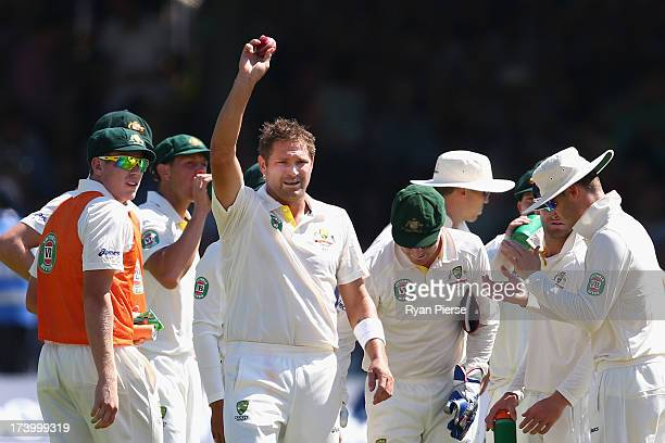 Ryan Harris of Australia celebrates after taking his fifth wicket James Anderson of England during day two of the 2nd Investec Ashes Test match...