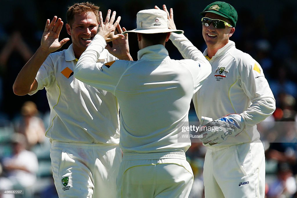 Ryan Harris of Australia celebrates after taking the wicket of Michael Carberry of England during day two of the Third Ashes Test Match between Australia and England at WACA on December 14, 2013 in Perth, Australia.