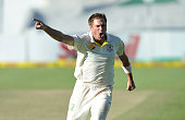 Ryan Harris of Australia celebrates as he takes the last wicket to win Australia on Day 5 of the third Test match between South Africa and Australia...