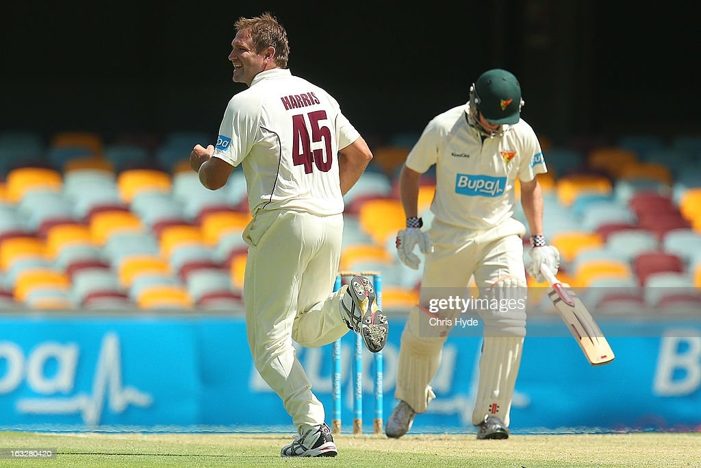 Ryan Harris of the Bulls celebrates after dismissing George Bailey of the Tigers for a duck during day one of the Sheffield Shield match between the Queensland Bulls and the Tasmanian Tigers at The Gabba on March 7, 2013 in Brisbane, Australia.