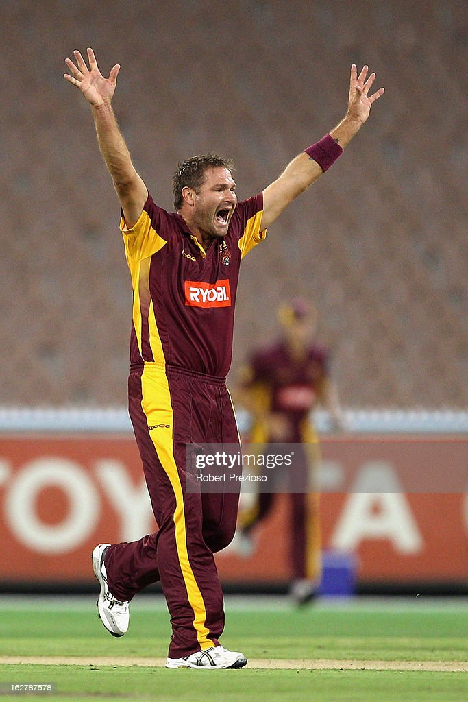 Ryan Harris of the Bulls celebrates the wicket of Aaron Finch of the Bushrangers during the Ryobi One Day Cup final match between the Victorian Bushrangers and the Queensland Bulls at Melbourne Cricket Ground on February 27, 2013 in Melbourne, Australia.