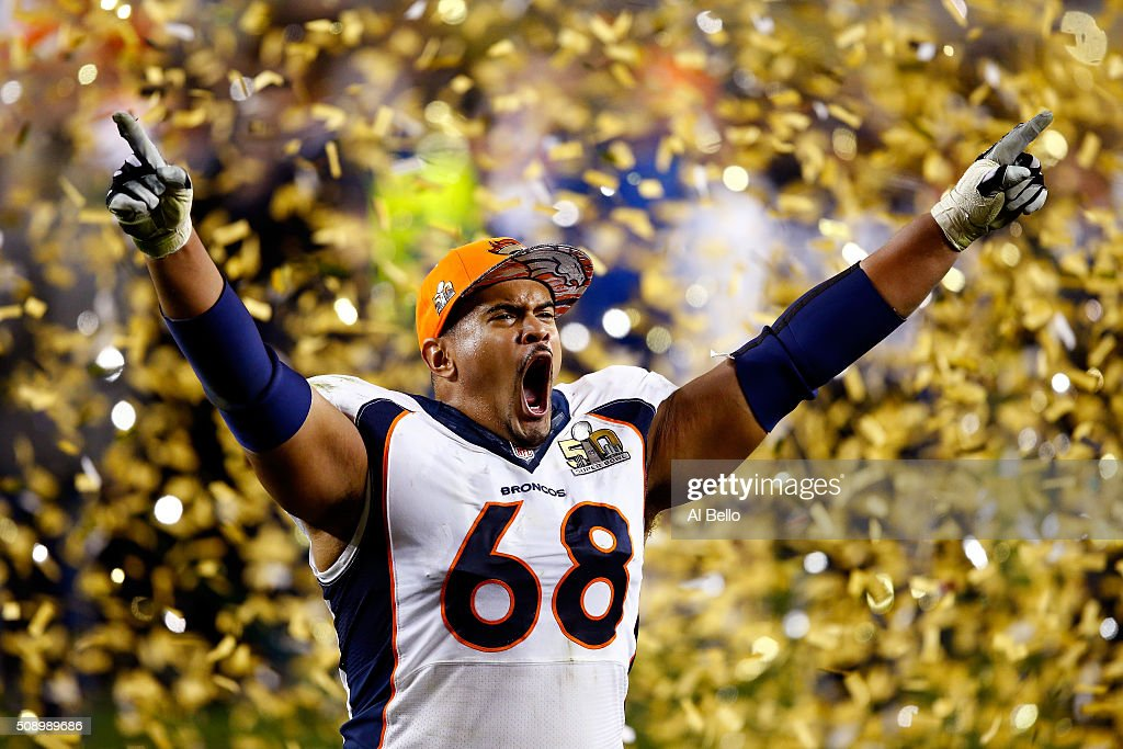 Ryan Harris of the Denver Broncos celebrates after defeating the Carolina Panthers during Super Bowl 50 at Levi's Stadium on February 7 2016 in Santa...