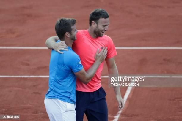US Ryan Harrison and teammate New Zealand's Michael Venus celebrate after winning their men's doubles tennis match against Mexico's Santiago Gonzalez...