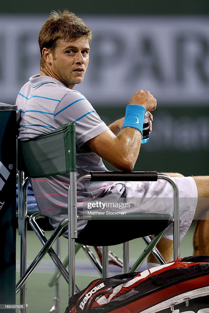 Ryan Harrison cools down between games while playing Rafael Nadal of Spain during the BNP Paribas Open at the Indian Wells Tennis Garden on March 9, 2013 in Indian Wells, California.