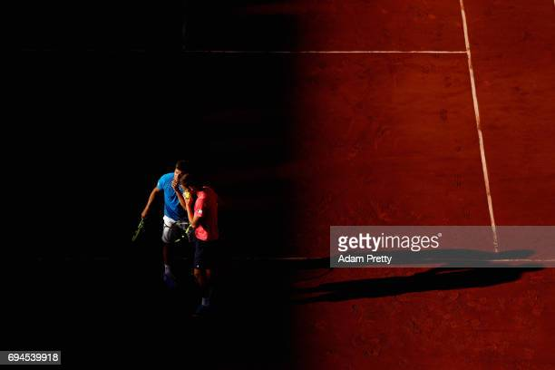 Ryan Harrison of The United States and partner Michael Venus of New Zealand celebrate a point during the mens doubles final match against Donald...