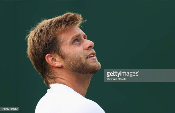 Ryan Harrison of The United States look on during the Gentlemen's Singles second round match against Tomas Berdych of The Czech Republic on day four...
