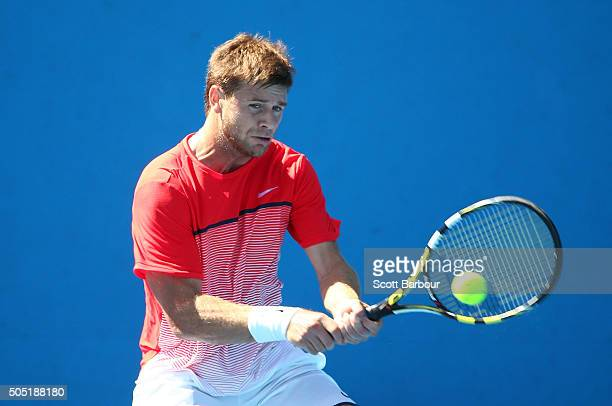 Ryan Harrison of the United States plays a backhand in his match against Aleksandr Nedovyesov of Kazakhstan during the third round of 2016 Australian...