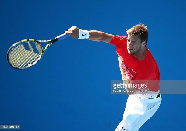 Ryan Harrison of the United States serves in his match against Aleksandr Nedovyesov of Kazakhstan during the third round of 2016 Australian Open...