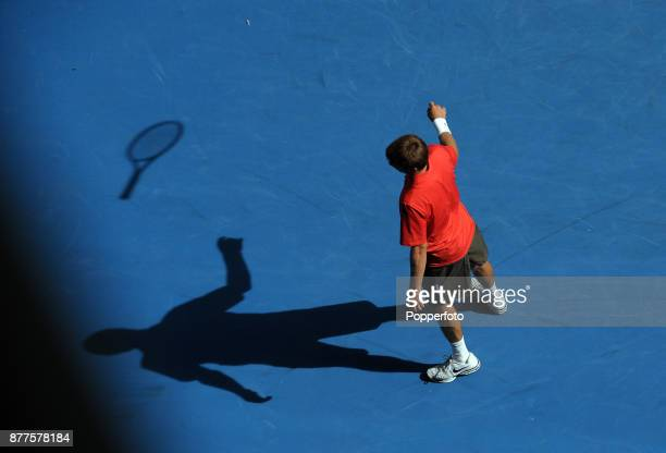 Ryan Harrison of the United States shows his frustration against Andy Murray of Great Britain during a Men's Singles 1st round match on day two of...