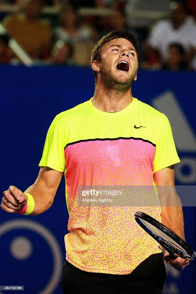 Ryan Harrison of U.S. reacts during the semi finals in men's single match against David Ferrer of Spain within Telcel Mexican Open 2015 at Mextenis Stadium on February 27, 2015 in Acapulco, Mexico.