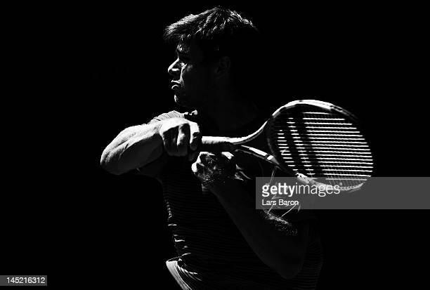 Ryan Harrison of USA plays a forehand during his match against Tatsuma Ito of Japan during day five of Power Horse World Team Cup at Rochusclub on...