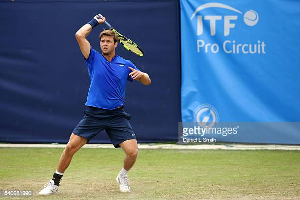 Ryan Harrison of USA plays a forehand during his mens singles match against Daniil Medvedev of Russia during the Aegon Ilkley Trophy at Ilkley Lawn...