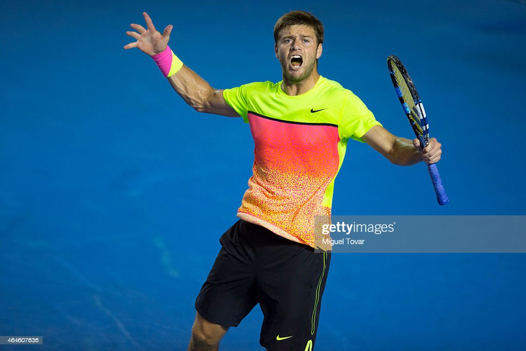 Ryan Harrison of USA reacts during a men's singles match against Ivo Karlovic of Croatia as part of Telcel Mexican Open 2015 at Mextenis Stadium on February 26, 2015 in Acapulco, Mexico.