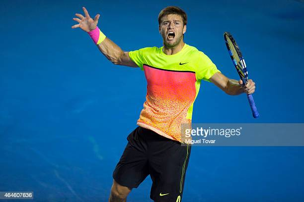 Ryan Harrison of USA reacts during a men's singles match against Ivo Karlovic of Croatia as part of Telcel Mexican Open 2015 at Mextenis Stadium on...