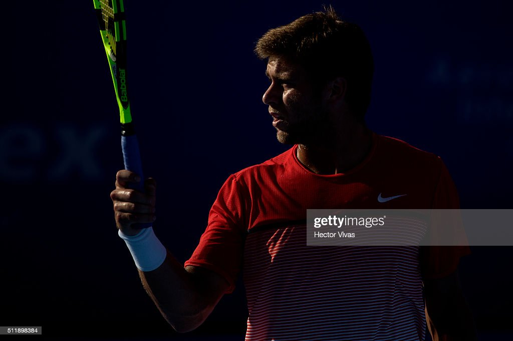 Ryan Harrison of USA reacts during a singles match between Marin Cilic of Croatia and Ryan Harrison of USA as part of Telcel ATP Mexican Open 2016 at Mextenis Stadium on February 23, 2016 in Mexico City, Mexico.