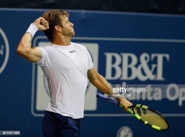 Ryan Harrison reacts after defeating Kyle Edmund of Great Britain during the BBT Atlanta Open at Atlantic Station on July 29 2017 in Atlanta Georgia