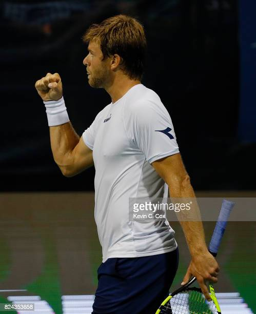Ryan Harrison reacts during the match against Kyle Edmund of Great Britain during the BBT Atlanta Open at Atlantic Station on July 29 2017 in Atlanta...