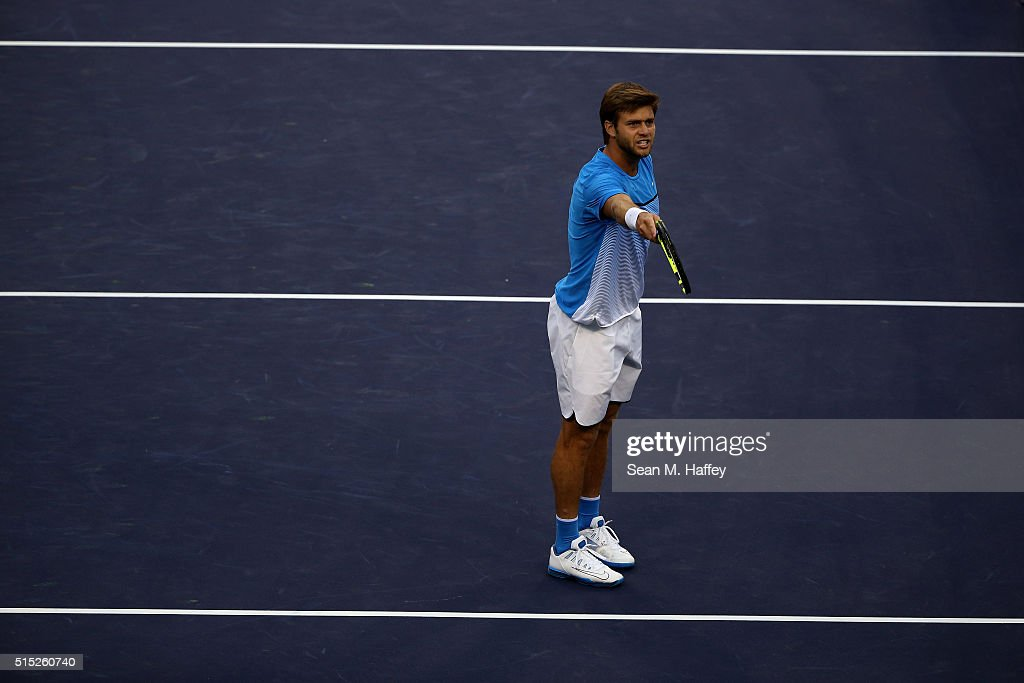 Ryan Harrison reacts to a shot against Marin Cilic of Croatia during the BNP Paribas Open at the Indian Wells Tennis Garden on March 11 at Indian Wells Tennis Garden on March 12, 2016 in Indian Wells, California