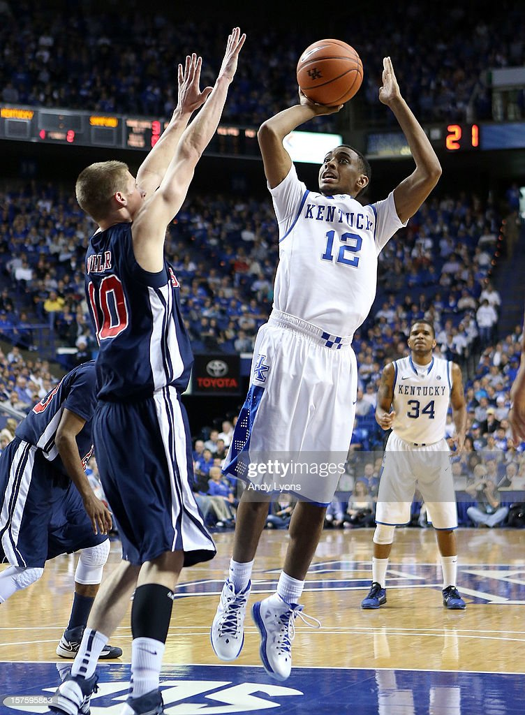 Ryan Harrow #12 of the Kentucky Wildcats shoots the ball during the game against the Samford Bulldogs at Rupp Arena on December 4, 2012 in Lexington, Kentucky. Kentucky won 88-56.